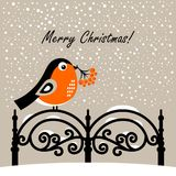 Christmas cartoon bullfinch. Vector illustration. On a gray background stock illustration