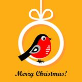 Christmas cartoon bullfinch. Vector illustration. On a orange background royalty free illustration