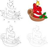 Christmas cartoon candle. Dot to dot game for kids Stock Images