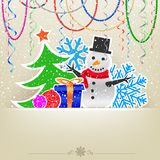 Christmas cartoon card snow and bauble Stock Photo