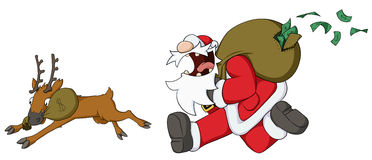 Christmas Cartoon, Cash Grab. Christmas celebration humorous cartoon, Santa Claus running with money sack Royalty Free Stock Image