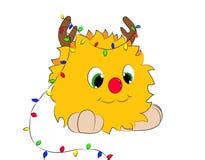 Christmas cartoon character horns garland monster Royalty Free Stock Photography