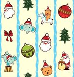 Christmas Cartoon Character Pattern Stock Images