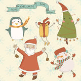Christmas cartoon characters against a snowy backg Stock Photo
