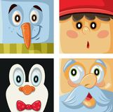Christmas Cartoon Characters Vector Portrait Collection Royalty Free Stock Images