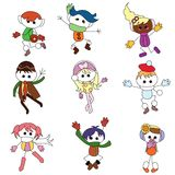 Christmas cartoon children. To be used for icons and others Royalty Free Stock Photography