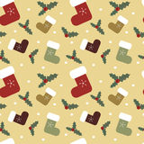 Christmas cartoon colorful socks seamless pattern background illustration with mistletoe Royalty Free Stock Image