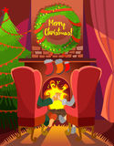 Christmas cartoon concept with family couple sitting in front of fireplace. Cute cartoon family couple sitting in front of cozy fireplace with christmas Royalty Free Stock Photo