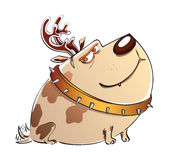 Christmas cartoon dog Stock Image