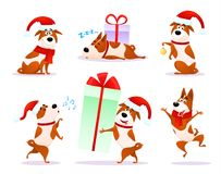 Christmas cartoon dog emoticons. Xmas puppy emoji. Stock Photography