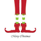 Christmas cartoon elfs legs on white background Royalty Free Stock Photo