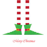 Christmas cartoon elfs legs on white background Royalty Free Stock Images