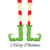 Christmas cartoon elfs legs on white background Stock Images
