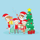 Christmas cartoon family smile happily Royalty Free Stock Images