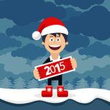 Christmas Cartoon flat business man Royalty Free Stock Photos