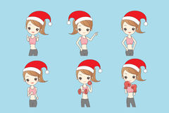 Christmas cartoon girl in fitness Royalty Free Stock Images