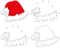 Christmas cartoon hat. Coloring book and dot to dot game for kid. Christmas cartoon hat. Coloring book and dot to dot educational game for kids Royalty Free Stock Photos