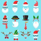 Christmas cartoon hats. Xmas santa hat, elf cap and reindeer photo mask. Santas beard and mustaches vector set royalty free illustration