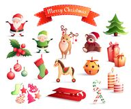 Christmas Cartoon Icons Set. Set of cartoon icons with christmas decorations including santa, year tree, gifts, animals, candles  vector illustration Stock Photos
