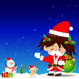 Christmas cartoon Little Girl with Santa Suit Royalty Free Stock Photo