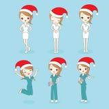 Christmas cartoon nurse show something Stock Image