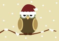 Christmas cartoon owl on branch holidays illustration Stock Photo