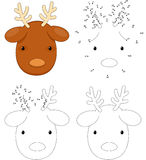 Christmas cartoon reindeer. Coloring book and dot to dot game fo. Christmas cartoon reindeer. Coloring book and dot to dot educational game for kids Royalty Free Stock Images