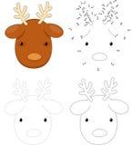 Christmas cartoon reindeer. Dot to dot game for kids Stock Photo