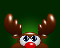 Christmas cartoon reindeer looking up over green background Stock Images