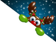 Christmas cartoon reindeer over blue background holding blank Stock Photos