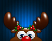 Christmas cartoon reindeer over blue background Royalty Free Stock Photo