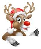 Santa Hat Reindeer Pointing Down from Behind Sign. Christmas cartoon of Reindeer in Santa hat peeing out and pointing down from behind sign Royalty Free Stock Photo