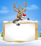 Christmas Cartoon Reindeer Sign Royalty Free Stock Image