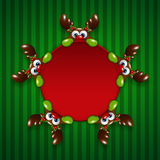 Christmas cartoon reindeers holding red banner Stock Photography