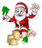 Christmas Cartoon Santa on Beach Royalty Free Stock Photography