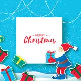 Christmas cartoon of Santa Claus holding a Gift box with bow. Paper Cut Merry Christmas Greeting card. Origami Happy New. Year. Snowy forest. Elf. Space for Royalty Free Stock Images