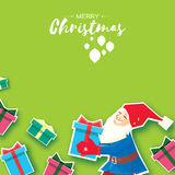 Christmas cartoon of Santa Claus holding a Gift box with bow. Paper Cut Merry Christmas Greeting card. Origami Winter. Season. Happy New Year. Space for text Stock Photos