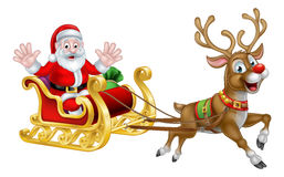 Christmas Cartoon Santa and Reindeer Sleigh Stock Photo
