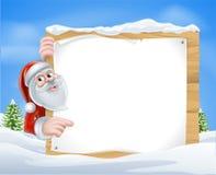Christmas Cartoon Santa Sign Royalty Free Stock Photo