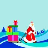 Christmas cartoon santa  winter holiday father claus illus Stock Images