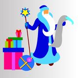 Christmas cartoon santa  winter holiday father claus illus Stock Photos