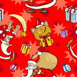 Christmas Cartoon Seamless Pattern Royalty Free Stock Images