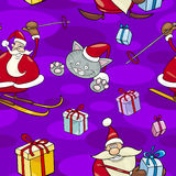 Christmas Cartoon Seamless Pattern Stock Image