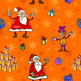 Christmas cartoon seamless pattern paper. Seamless Pattern Cartoon Illustration of Santa Claus and other Christmas Themes for Wrapper or Paper Pack and Design Stock Photos