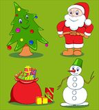 Christmas cartoon set. Stock Photo