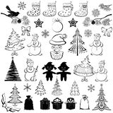 Christmas Cartoon, Set Black Silhouettes Royalty Free Stock Photography