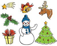 Christmas cartoon set Stock Images