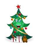 Christmas cartoon smiling tree Royalty Free Stock Photos