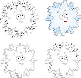 Christmas cartoon snowflake. Coloring book and dot to dot game f Royalty Free Stock Photography