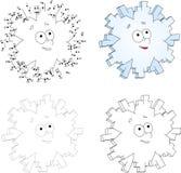 Christmas cartoon snowflake. Dot to dot game for kids Royalty Free Stock Photo